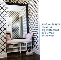 small entryway bold wallpaper black white pink