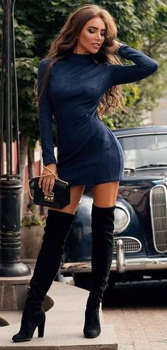 amazing fall outfit : sweater dress + bag + over the knee boots