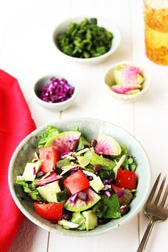 Mexican Salad with Cilantro Jalapeno Vinaigrette - recipe at cali-zona.com