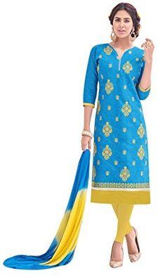 5ed14acdb2 EthnicJunction Women s Cotton Dress Material (EJ1125-050 Free Size Bright  Green)  Amazon.in
