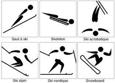 Symboles et pictogrammes: les sports olympiques d'hiver Olympic Logo, Olympic Sports, Olympic Games, Snowboard, Olympic Crafts, Winter Olympics 2014, Art Education Projects, Project Based Learning, Teaching French