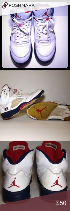 Jordan 'OG Retro' 'Olympic' 5 Men's 9.5 Pre-owned. Men's Size 9.5. Worn item. Easily restorable. Open to Offers. Will ship same or next business day Jordan Shoes Sneakers