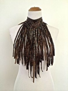 The AMAZON WARRIOR  Brown faux leather hand cut Fringe Necklace choker, decorated with beads?