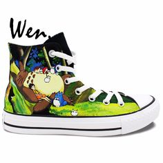 f7c828ebb2f2 Wen Hand Painted Shoes Anime Shoes Custom Design My Neighbor Totoro High Top  Men Women s Canvas Shoes Christmas Birthday Gifts