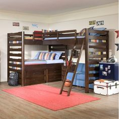 Legacy Classic Furniture Solutions L-Shaped Loft Bed  with Lower Twin and Storage in Distressed Brown Cherry