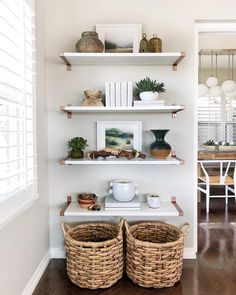 Shelves are IKEA, brackets painted with Rustoleum hammered bronze Living room shelves Room Furniture Design, Ikea Living Room Furniture, Furniture Buyers, Furniture Stores, Family Room, Sweet Home, House Design, Interior Design, Ikea Shelves Bedroom