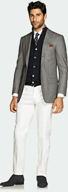 Suitsupply - light grey wool jacket, navy cardigan, white shirt, plaid tie, white trousers, grey suede lace ups