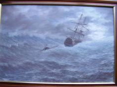 Man o  War in storm oil painting affordable art