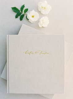 Heirloom Bindery Wedding Albums with 24K Gold Tooling and Hand Lettered Calligraphy Title | Gorgeous | Fine Art Wedding Albums for Film Shooters