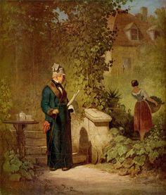 Carl Spitzweg - Reading the Newspaper in the Garden 1847