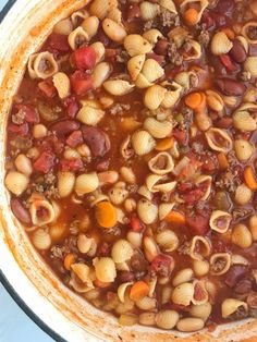 Pasta fagioli soup is so warm, comforting, and bursting with flavor. Convenient canned spaghetti sauce and beef broth form the base for this soup and then it's loaded with ground beef, vegetables, beans, tomatoes, and tender pasta. Serve with garlic bread or crusty rolls and you have a hearty dinner soup.
