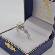 Diamond Infinity Halo Engagement Ring & Band Set 14K White Gold (0.60ct) - Allurez.com