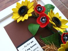 Quilled sunflowers, poppies and wheat (on a 15x20 cm frame)