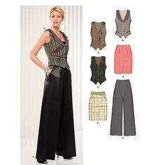 women's tuxedo vest   New Look 6919 Womens Tuxedo Vest Skirt & Palazzo Pants Pattern Size 6 ...