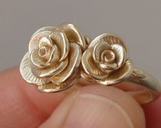 RESERVED for B | Payment Listing | Solid 14K, Double-Rose Ring (Size 9.5) | Handsculpted, Cast Ring in 14K Yellow Gold