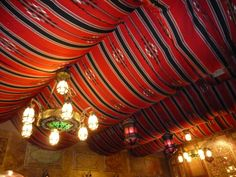 Looking up at the tent-effect ceiling treatment. Ceiling Treatments, Window Treatments, Mediterranean Wedding, Spring Festival, Jpg, The Conjuring, Tent, Store, Magic Tricks