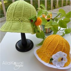 FREE Garden Party Crochet Hats #pattern #tutorial