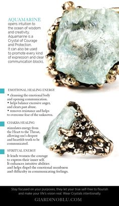 Crystal meaning Chart on how to use Aquamarine for balancing your Chakra, develop a sense of courage courage, improve communication Emotional and spiritual healing practices | Buying Guide about Healing Crystal Jewelry Ring with Aquamarine | Unique ring with rough Crystal #healingcrystals #roughstone #courage