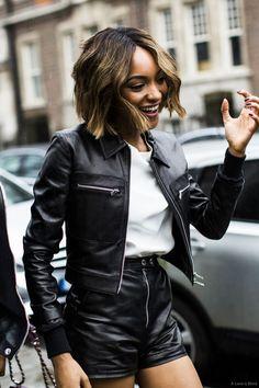 Jourdan Dunn on leather