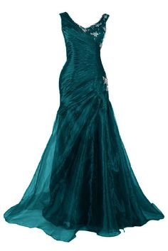 Sunvary 2015 New Organza Mermaid Long Evening Prom Dress Formal Gowns - US Size 16- Dark Teal
