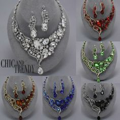 """STUNNING"" ""HIGH END"" CHUNKY WEDDING / FORMAL CRYSTAL  NECKLACE SET*CHIC  TRENDY"