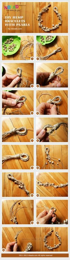 diy hemp bracelets with pearls