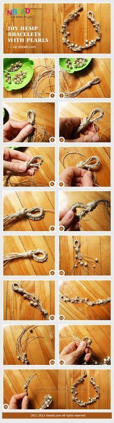 diy hemp bracelets with pearls