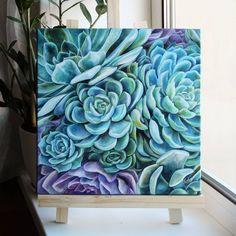 33 Ideas For Succulent Painting Acrylic Guache, Arte Floral, Leaf Art, Botanical Art, Beautiful Paintings, Painting Inspiration, Creative Art, Flower Art, Watercolor Art