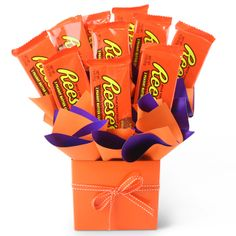 Reese's Peanut Butter Cup Chocolate Bouquet Candy Bouquet, Gift Bouquet, Reeses Peanut Butter, 21st Birthday, Birthday Ideas, Birthday Gifts, Chocolate Bouquet, Favorite Candy, Gifts For Mum