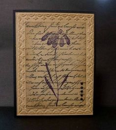 handmade card ... monochromatic kraft ... embossing folder border... central panel stamped collage style with script background and flower on top ... lovely card ... Stampin-up!