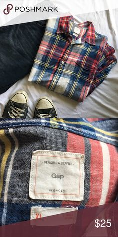 Men's Button-Down Multicolor plaid gives this shirt just the right amount of pop. Long sleeves. GAP Shirts Casual Button Down Shirts