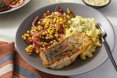 Barramundi & Garlic Mashed Potatoes with Corn & Tartar Sauce - Fish For Healthy Life Tomato Butter Sauce, Onion Relish, Pickle Relish, Marinated Tomatoes, Garlic Mashed Potatoes, Tartar Sauce, Sweet Pickles, The Fresh, Healthy Life