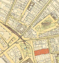 Alexanderplatz und Umgebung Straubeplan von 1910 (rot-markiert Lehrervereinhaus Alexanderstrasse 41)