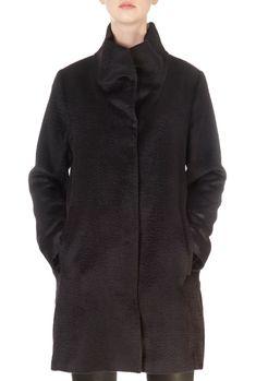 High Collar Black Alpaca Wool Coat | Jessimara Down Puffer Coat, Down Coat, Green Parka, Black Down, Alpaca Wool, Winter Coats Women, High Collar, Fur Collars, Eileen Fisher
