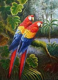Imagen relacionada Parrot Painting, Canvas Wall Art, Canvas Prints, Landscape Paintings, Birds, Bedroom Colors, Oil, Drawings, World
