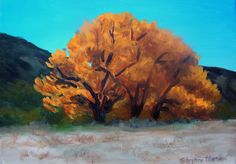 """Golden Tree    I saw this flaming golden tree one day and thought that it was brighter than anything around it.     SOLD   Original Artwork Details:  11""""H x 14""""W"""