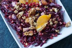 Recipe for a red cabbage salad with oranges and pomegranate. The salad is very healthy, filling and rich on vitamin A and C. Pickled Red Cabbage, Red Cabbage Salad, Orange Salad, Fall Recipes, Vegan Recipes, Red Cabbage Recipes, Other Recipes, Pomegranate, Acai Bowl