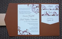 Burnt Orange & Red Fall Leaves and Swirls Pocketfold Wedding Invitations