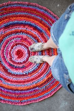 Rag Rug ~ I'm cutting t-shirts into strips to crochet, after the white ones get a bright makeover I'll be making one of these.