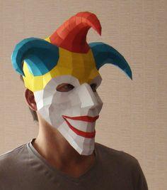 Joker masker, masker van papier, Papercraft Halloween masker, nar afdrukbare PDF DIY-sjabloon door Paperstatue op Etsy https://www.etsy.com/nl/listing/250671617/joker-masker-masker-van-papier