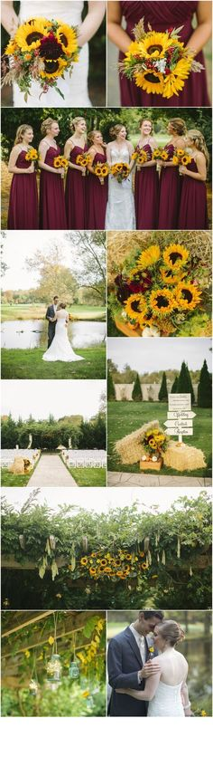 South Jersey Wedding Florist : A Garden Party Florist - Saltwater Studios - Eastlyn Golf Course - sunflower wedding - burgundy wedding - fall - rustic fall wedding corsage / fall wedding boutineers / fall wedding burgundy / wedding fall / wedding colors Summer Wedding Colors, Fall Wedding, Our Wedding, Dream Wedding, Trendy Wedding, Wedding Country, Wedding Rustic, Garden Wedding, Summer Colors