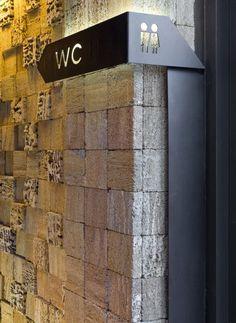 wayfinding signage, bent laser-cut metal, powder-coated, back-lit (Wc sign) Directional Signage, Wayfinding Signs, Metal Signage, Backlit Signage, 3d Signage, Deco Restaurant, Restaurant Design, Odessa Restaurant, Restaurant Signage