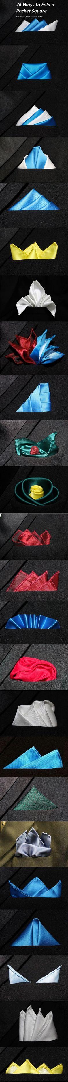 24 formas de doblar un pañuelo de bolsillo – Infografía #FashionClothes