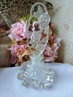 Vintage Irice CZECH PERFUME BOTTLE Flower Design by vintagelady7, $99.00