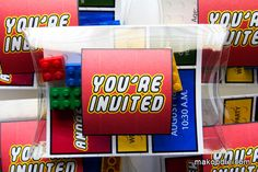 I used this for the birthday invites.  In order to get the exact coloring of the lego font it has to be modified in Photoshop. I found the pillowboxes on Amazon.  Pick up the lego pieces in a garage sale.