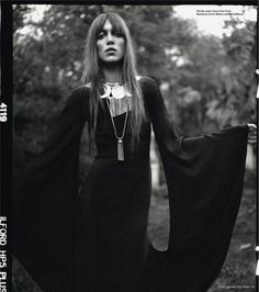 Cara Delevingne, Charlie Bredal, Codie Young, Louise Parker and Magda Laguinge for i-D Magazine Pre-Spring 2013 Photographer: Richard BushFashion Editor: Sarah RichardsonHair: James RoweMake-up: Mathias van Hooff Witch Fashion, Fashion Goth, Black Magic Woman, Scary Costumes, Season Of The Witch, Mode Editorials, Cara Delevingne, Flowers In Hair, Bohemian Style