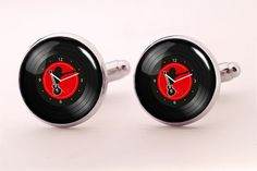 Music Vinyl Cufflinks,Photo Cufflinks,Groomsmen Wedding Cufflinks
