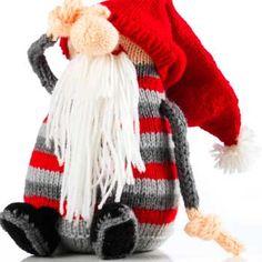 Strikkeopskrifter - stort udvalg af god opskrifter - se dem her Swedish Christmas, Christmas Gnome, Christmas Knitting, Christmas Art, Amigurumi Patterns, Knitting Patterns, Crochet Patterns, Scandinavian Gnomes, Yard Gnomes