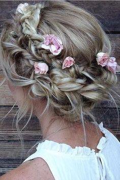 Best Wedding Hairstyles With Braids Boho Updo Ideas Wedding Hair Flowers, Wedding Hair And Makeup, Flowers In Hair, Hair Wedding, Boho Flowers, Wedding Girl, Bride Flowers, Roses In Hair, Wedding Dresses