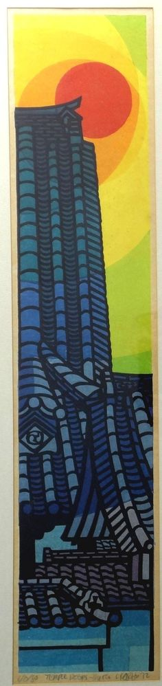 "' Clifton Karhu - woodblock print ""Temple Roofs Kyoto"" 1972 '"